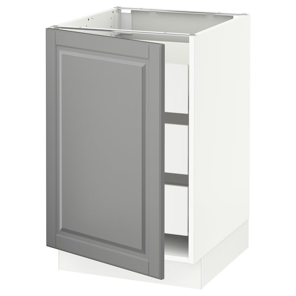 """SEKTION / MAXIMERA Base cabinet with 1 door/3 drawers, white/Bodbyn gray, 21x24x30 """""""