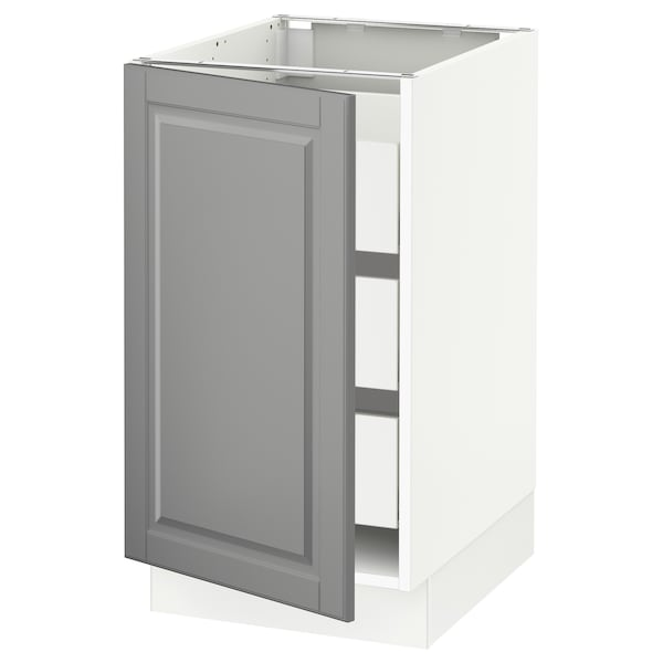 """SEKTION / MAXIMERA Base cabinet with 1 door/3 drawers, white/Bodbyn gray, 18x24x30 """""""