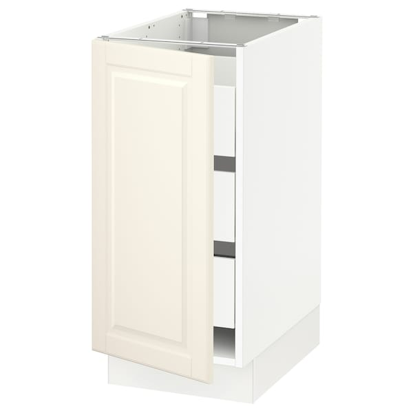 """SEKTION / MAXIMERA Base cabinet with 1 door/3 drawers, white/Bodbyn off-white, 15x24x30 """""""