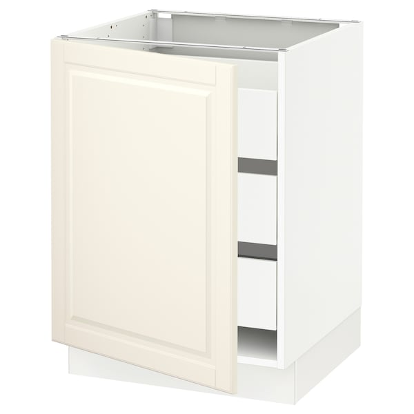"""SEKTION / MAXIMERA Base cabinet with 1 door/3 drawers, white/Bodbyn off-white, 24x24x30 """""""