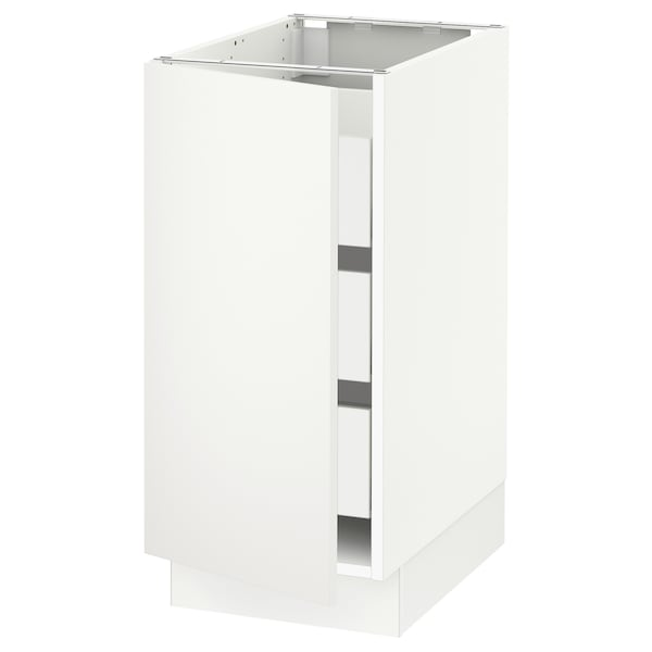"SEKTION / MAXIMERA Base cabinet with 1 door/3 drawers, white/Häggeby white, 15x24x30 """
