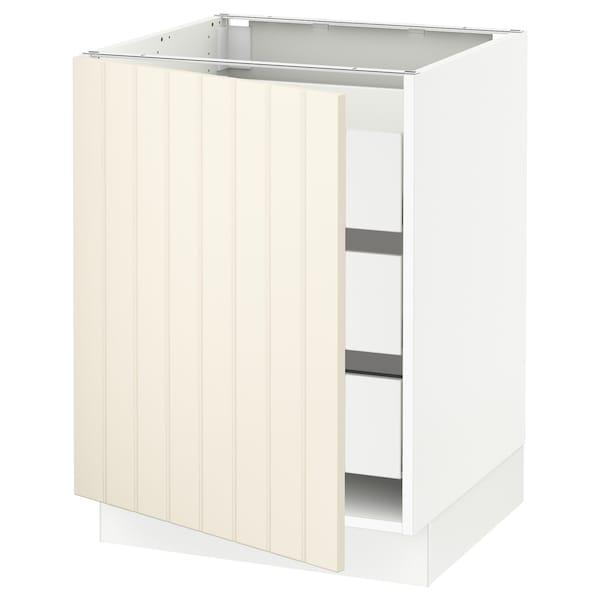 "SEKTION / MAXIMERA Base cabinet with 1 door/3 drawers, white/Hittarp off-white, 24x24x30 """