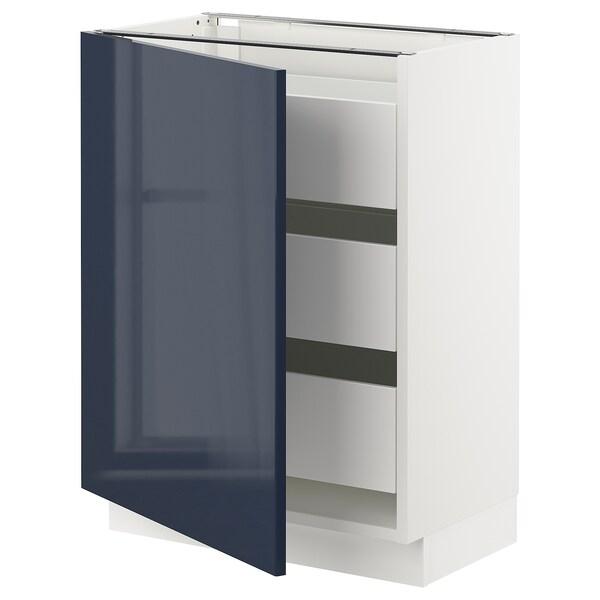 "SEKTION / MAXIMERA Base cabinet with 1 door/3 drawers, white/Järsta black-blue, 24x15x30 """