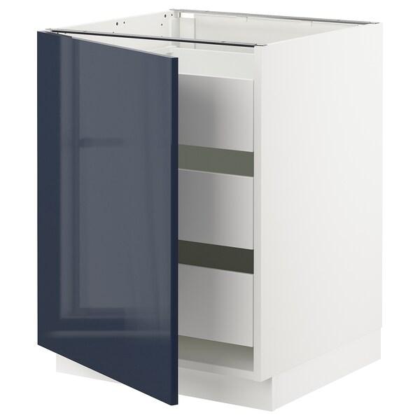 "SEKTION / MAXIMERA Base cabinet with 1 door/3 drawers, white/Järsta black-blue, 24x24x30 """