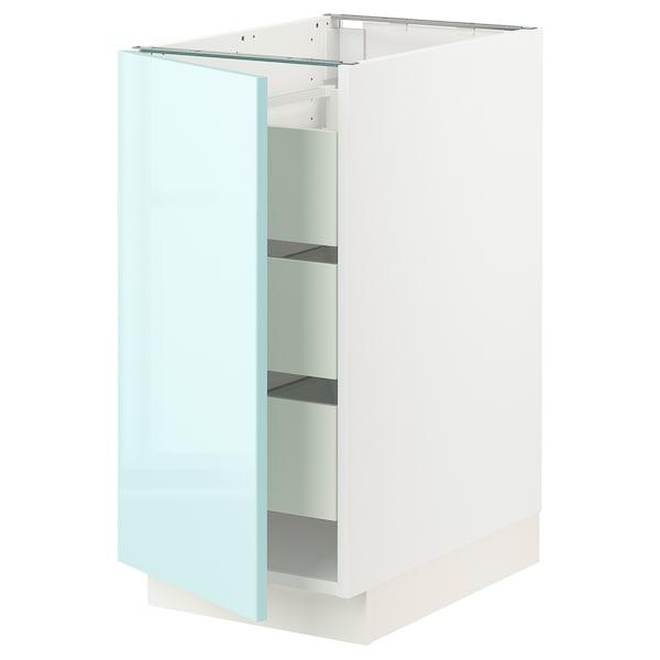 "SEKTION / MAXIMERA Base cabinet with 1 door/3 drawers, white Järsta/high gloss light turquoise, 15x24x30 """