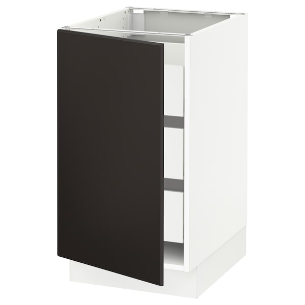 """SEKTION / MAXIMERA Base cabinet with 1 door/3 drawers, white/Kungsbacka anthracite, 18x24x30 """""""