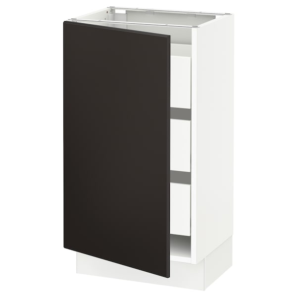 """SEKTION / MAXIMERA Base cabinet with 1 door/3 drawers, white/Kungsbacka anthracite, 18x15x30 """""""
