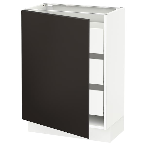 """SEKTION / MAXIMERA Base cabinet with 1 door/3 drawers, white/Kungsbacka anthracite, 24x15x30 """""""