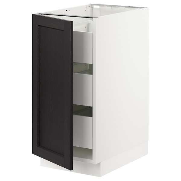 """SEKTION / MAXIMERA Base cabinet with 1 door/3 drawers, white/Lerhyttan black stained, 15x24x30 """""""