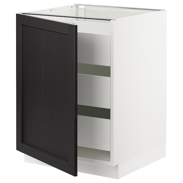 """SEKTION / MAXIMERA Base cabinet with 1 door/3 drawers, white/Lerhyttan black stained, 24x24x30 """""""