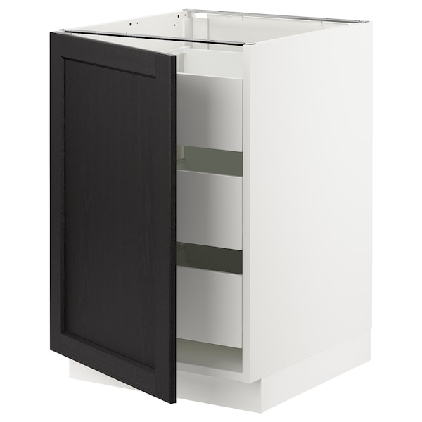 SEKTION / MAXIMERA Base cabinet with 1 door/3 drawers, white/Lerhyttan black stained, 21x24x30 ""