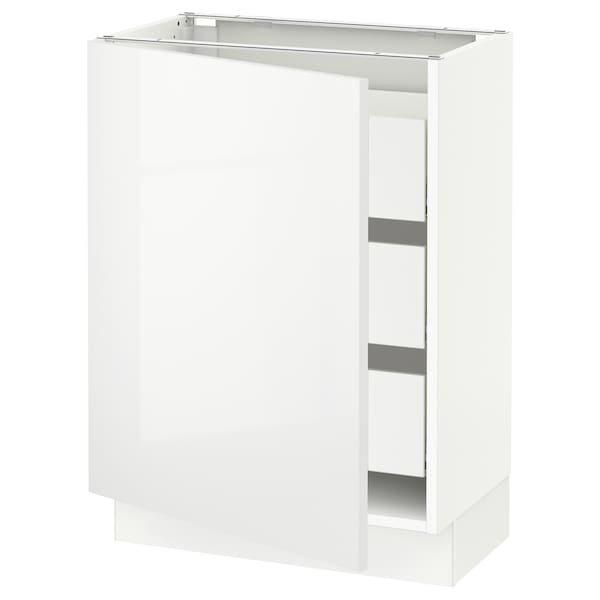 """SEKTION / MAXIMERA Base cabinet with 1 door/3 drawers, white/Ringhult white, 24x15x30 """""""