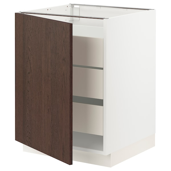 SEKTION / MAXIMERA Base cabinet with 1 door/3 drawers, white/Sinarp brown, 24x24x30 ""