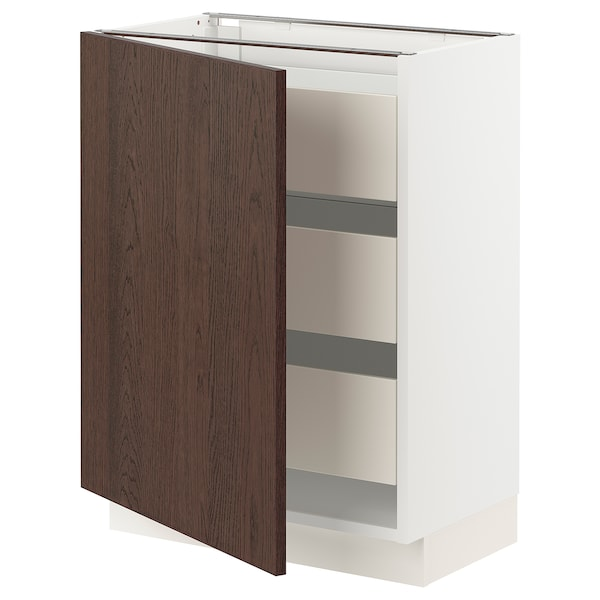 """SEKTION / MAXIMERA Base cabinet with 1 door/3 drawers, white/Sinarp brown, 24x15x30 """""""