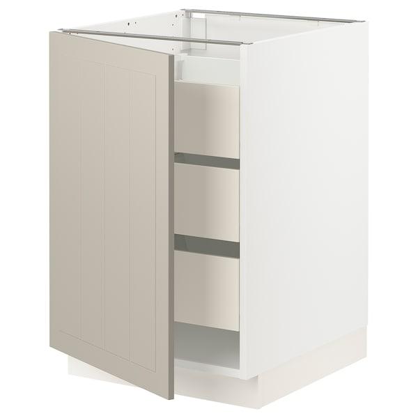 """SEKTION / MAXIMERA Base cabinet with 1 door/3 drawers, white/Stensund beige, 21x24x30 """""""