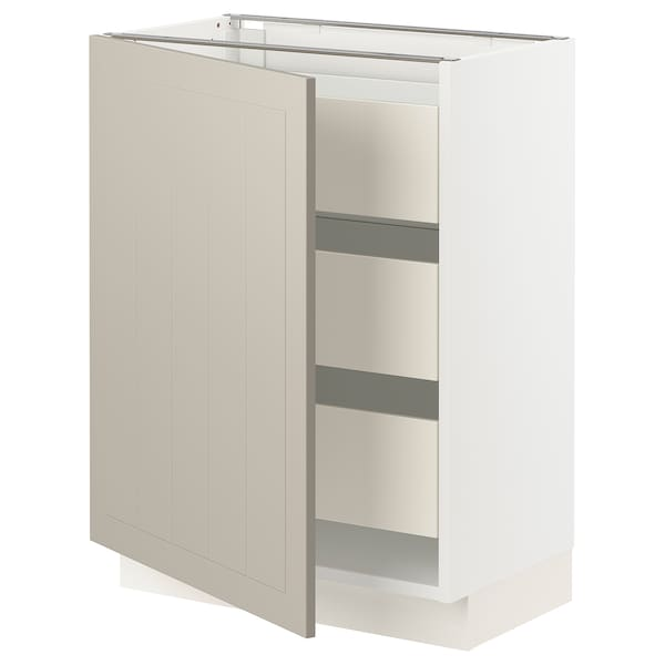 """SEKTION / MAXIMERA Base cabinet with 1 door/3 drawers, white/Stensund beige, 24x15x30 """""""