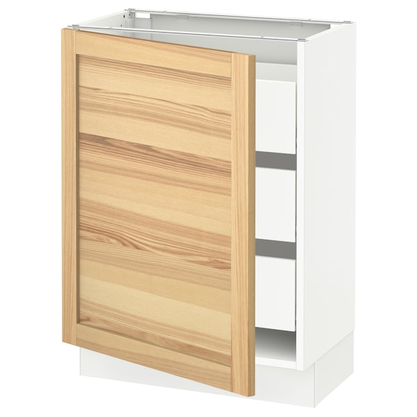 SEKTION / MAXIMERA Base cabinet with 1 door/3 drawers, white/Torhamn ash, 24x15x30 ""