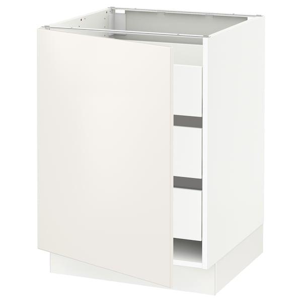 """SEKTION / MAXIMERA Base cabinet with 1 door/3 drawers, white/Veddinge white, 24x24x30 """""""