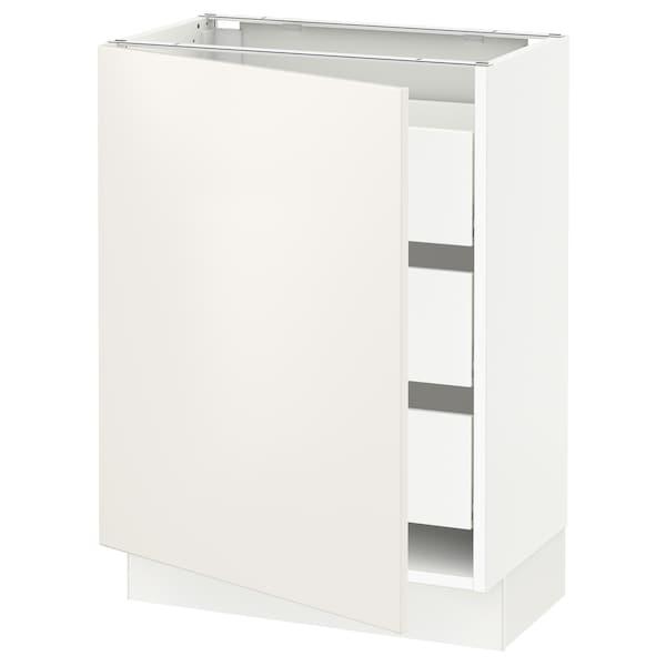 """SEKTION / MAXIMERA Base cabinet with 1 door/3 drawers, white/Veddinge white, 24x15x30 """""""