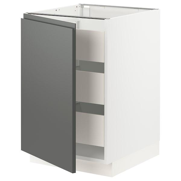 "SEKTION / MAXIMERA Base cabinet with 1 door/3 drawers, white/Voxtorp dark gray, 21x24x30 """