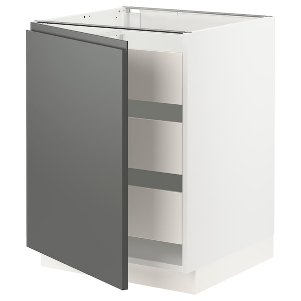 SEKTION / MAXIMERA Base cabinet with 1 door/3 drawers, white/Voxtorp dark gray, 24x24x30 ""