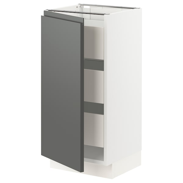 SEKTION / MAXIMERA Base cabinet with 1 door/3 drawers, white/Voxtorp dark gray, 15x15x30 ""