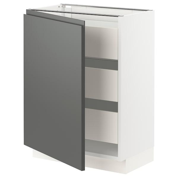 "SEKTION / MAXIMERA Base cabinet with 1 door/3 drawers, white/Voxtorp dark gray, 24x15x30 """