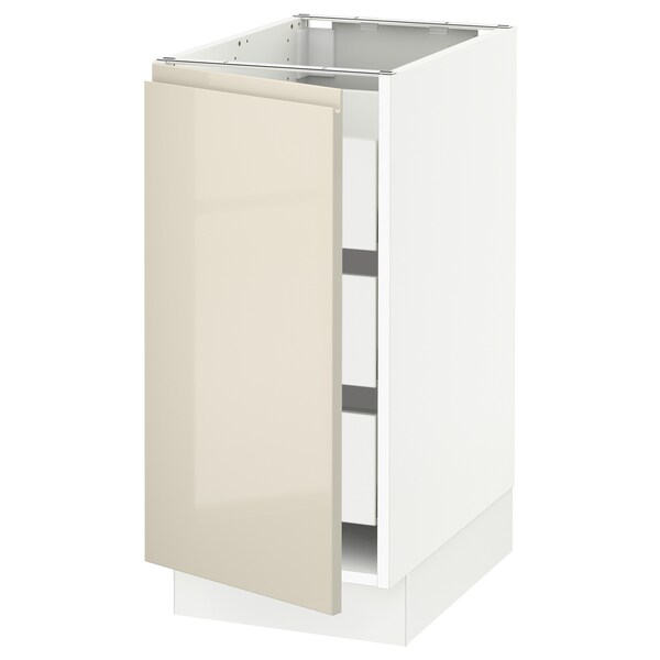 """SEKTION / MAXIMERA Base cabinet with 1 door/3 drawers, white/Voxtorp high-gloss light beige, 15x24x30 """""""