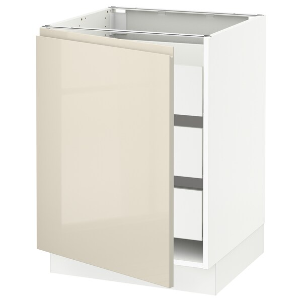 SEKTION / MAXIMERA Base cabinet with 1 door/3 drawers, white/Voxtorp high-gloss light beige, 24x24x30 ""