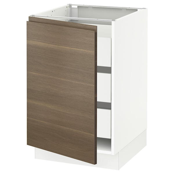 "SEKTION / MAXIMERA Base cabinet with 1 door/3 drawers, white/Voxtorp walnut effect, 21x24x30 """