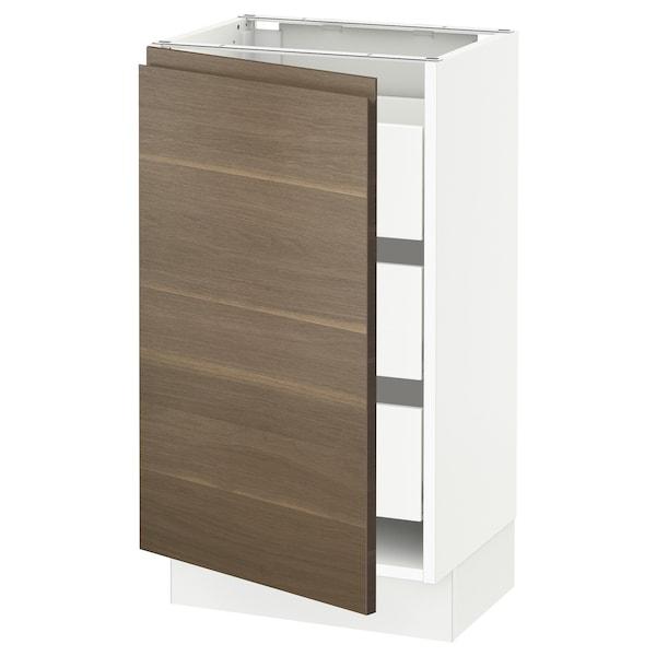 "SEKTION / MAXIMERA Base cabinet with 1 door/3 drawers, white/Voxtorp walnut effect, 18x15x30 """