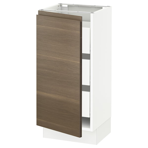 SEKTION / MAXIMERA Base cabinet with 1 door/3 drawers, white/Voxtorp walnut effect, 15x15x30 ""