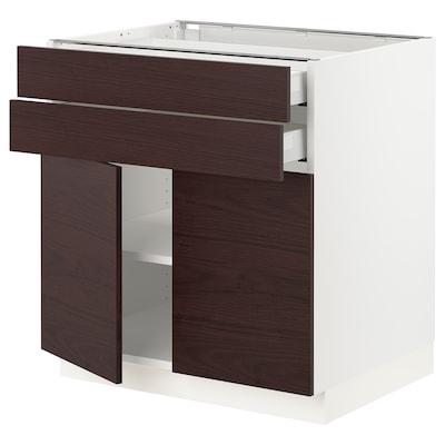 "SEKTION / MAXIMERA Base cabinet with 2 doors/2 drawers, white Askersund/dark brown ash effect, 30x24x30 """