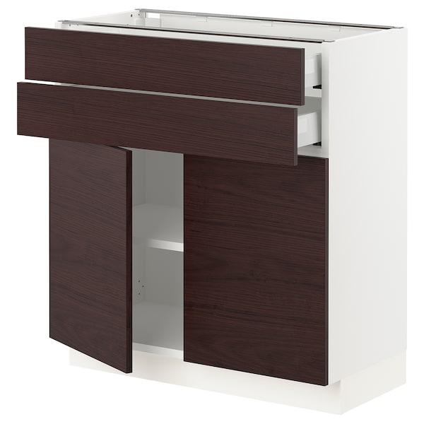 "SEKTION / MAXIMERA Base cabinet with 2 doors/2 drawers, white Askersund/dark brown ash effect, 30x15x30 """