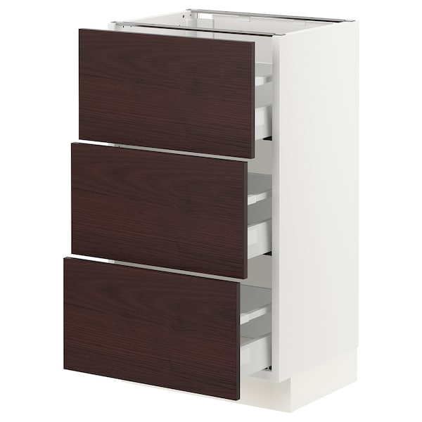 SEKTION / MAXIMERA Base cabinet with 3 drawers, white Askersund/dark brown ash effect, 18x15x30 ""