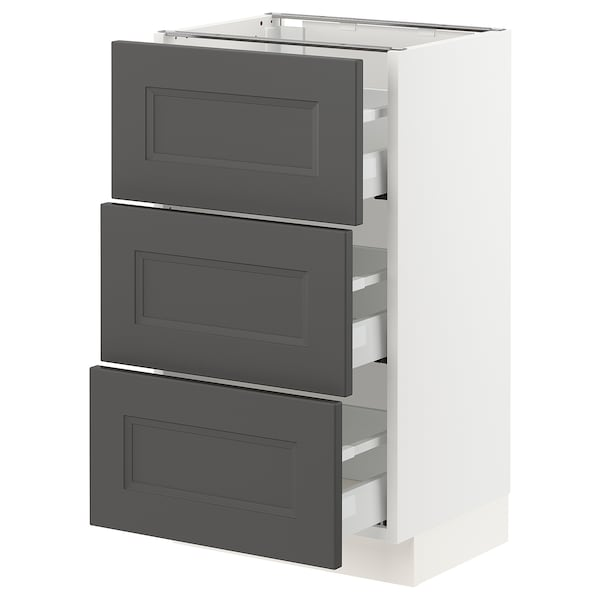 "SEKTION / MAXIMERA Base cabinet with 3 drawers, white/Axstad dark gray, 18x15x30 """