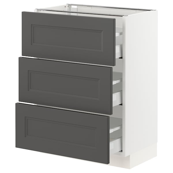 SEKTION / MAXIMERA Base cabinet with 3 drawers, white/Axstad dark gray, 24x15x30 ""