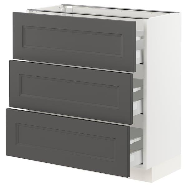 "SEKTION / MAXIMERA Base cabinet with 3 drawers, white/Axstad dark gray, 30x15x30 """