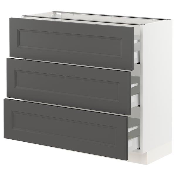 "SEKTION / MAXIMERA Base cabinet with 3 drawers, white/Axstad dark gray, 36x15x30 """