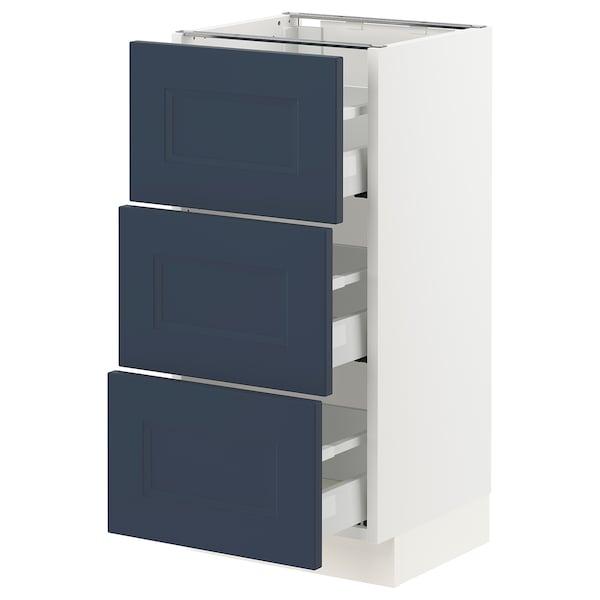 "SEKTION / MAXIMERA Base cabinet with 3 drawers, white Axstad/matte blue, 15x15x30 """