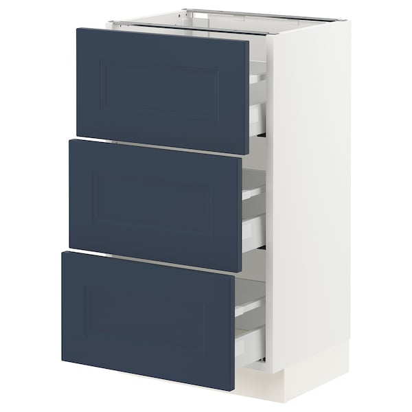 SEKTION / MAXIMERA Base cabinet with 3 drawers, white Axstad/matte blue, 18x15x30 ""