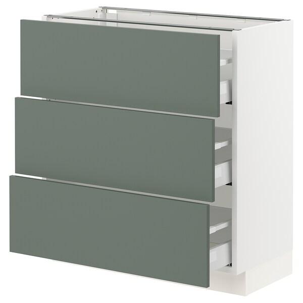 "SEKTION / MAXIMERA Base cabinet with 3 drawers, white/Bodarp gray-green, 30x15x30 """