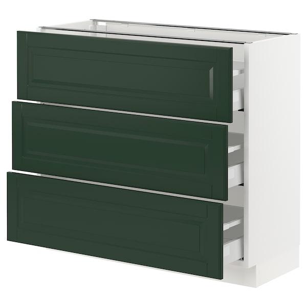 "SEKTION / MAXIMERA Base cabinet with 3 drawers, white/Bodbyn dark green, 36x15x30 """