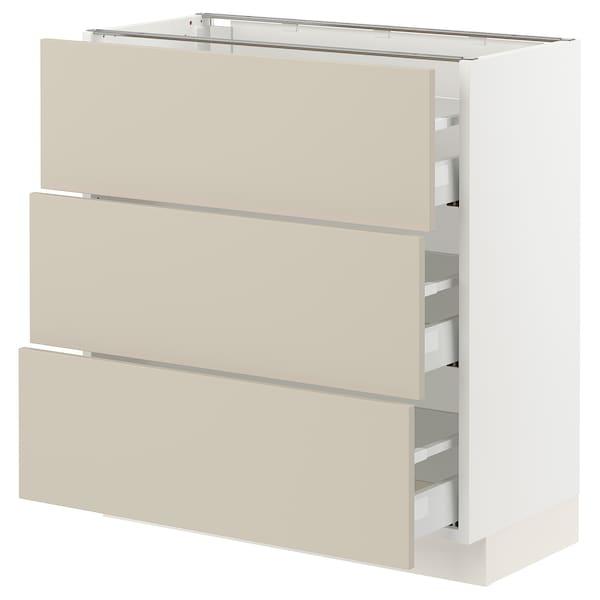 "SEKTION / MAXIMERA Base cabinet with 3 drawers, white/Havstorp beige, 30x15x30 """