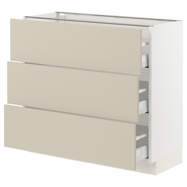"SEKTION / MAXIMERA Base cabinet with 3 drawers, white/Havstorp beige, 36x15x30 """