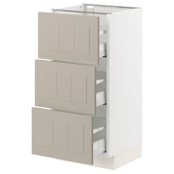 """SEKTION / MAXIMERA Base cabinet with 3 drawers, white/Stensund beige, 15x15x30 """""""