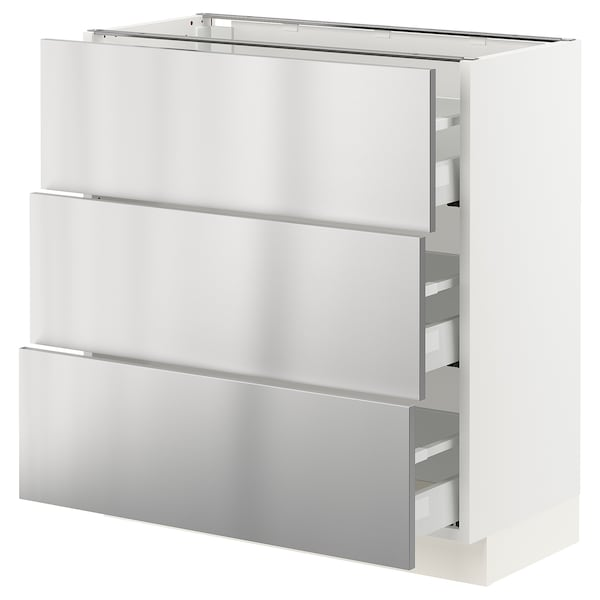 """SEKTION / MAXIMERA Base cabinet with 3 drawers, white/Vårsta stainless steel, 30x15x30 """""""