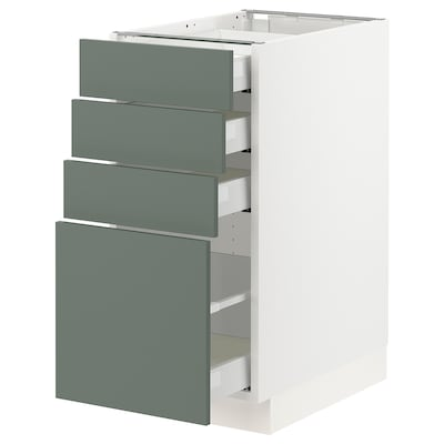 "SEKTION / MAXIMERA Base cabinet with 4 drawers, white/Bodarp gray-green, 15x24x30 """