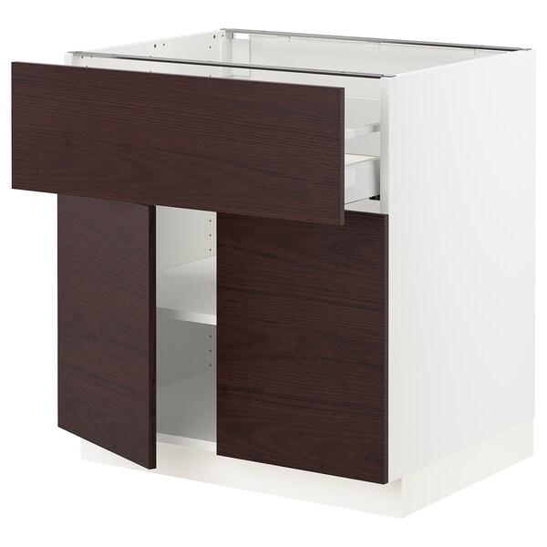 "SEKTION / MAXIMERA Base cabinet with drawer/2 doors, white Askersund/dark brown ash effect, 30x24x30 """