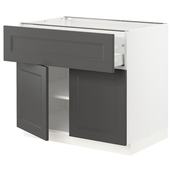 "SEKTION / MAXIMERA Base cabinet with drawer/2 doors, white/Axstad dark gray, 36x24x30 """